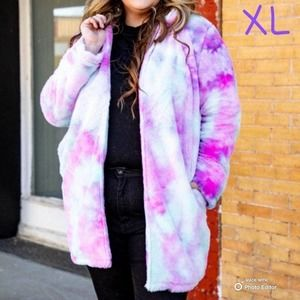 L&B Tie Dye Fur Print Coat-XL